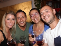 Enjoying wine with Canadian guests