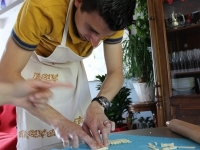 Belgian guest at work with cavatelli