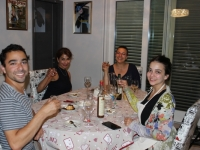 Enjoying dinner with Canadian guests