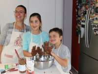 Little ones making chocolate salami